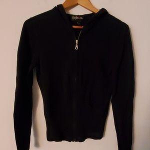 Style & Co Black Long Sleeve Hoodie Jacket - M